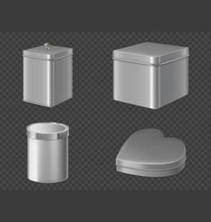 Metal tin boxes for tea sugar or candies vector