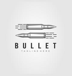 Minimalist ammo bullet ammunition line art logo vector