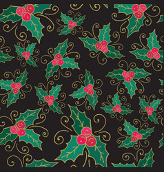 Mistletoe christmas seamless background new year vector