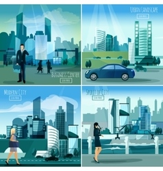 Modern cityscapes 4 flat icons square vector image