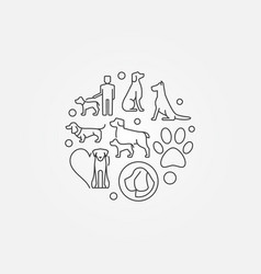 modern round with dog icons vector image