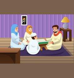 Muslim family studying quran at home vector