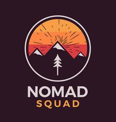 Nomad squad logo retro camping adventure emblem vector