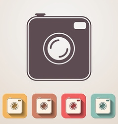 Old photocamera flat icons set fadding shadow vector