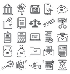 Online tax icons set outline style vector
