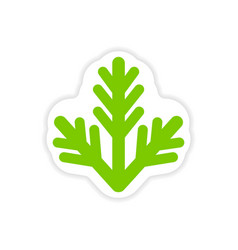 Paper sticker on white background fur-tree branch vector