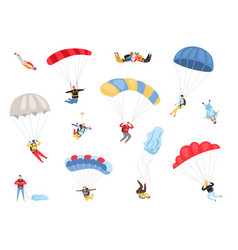 parachute skydivers set vector image