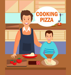 Parent and child enjoying dinner cooking process vector
