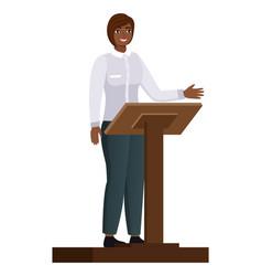 politician woman standing behind rostrum vector image