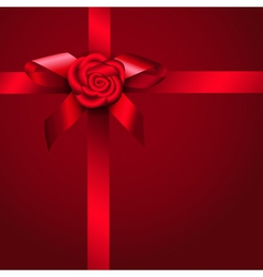 Red ribbon rose and bow vector image