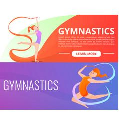Rhythmic gymnastics banner set cartoon style vector