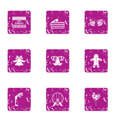 Rite icons set grunge style vector