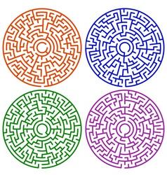 Round maze set vector
