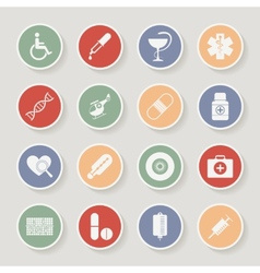 Round Medical Icons vector image