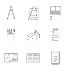 School tool icons set outline style vector
