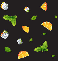 seamless black pattern orange mint and ice cubes vector image