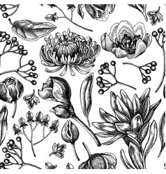 Seamless pattern with black and white viburnum vector