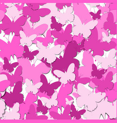 Seamless pattern with pink paper butterfly vector
