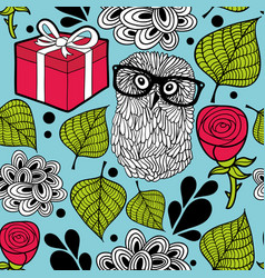 Seamless wallpaper with hipster owl and party box vector