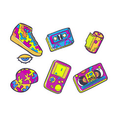 set of fashion patches sneakers video cassette vector image