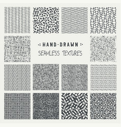 set of hand drawn marker and ink patterns vector image