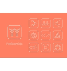 Set of partnership simple icons vector image