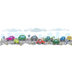 Small funny cars on the urban ity road vector