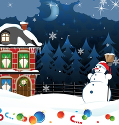 Snowman and scattered Christmas decorations vector
