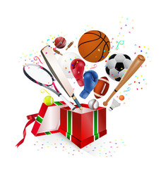 Sports equipment gift vector