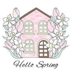 Spring house flower garden holiday set vector