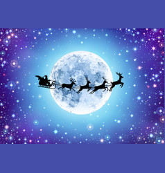 starry sky with moon and santa vector image