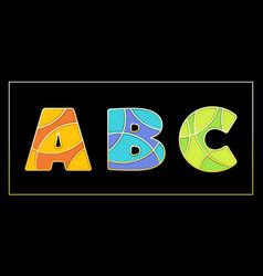 Stylish enamel mosaic uppercase abc banner vector