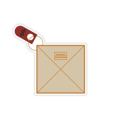 Stylish sticker on paper envelope and money vector