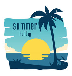 summer holiday coconut tree sunset blue sky backgr vector image