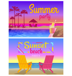 Summer sunset beach party promotional banners vector