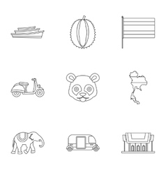 Thailand icons set outline style vector