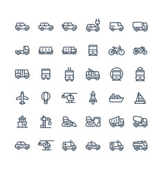 Thin line icons set with public transport vector