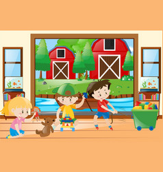 Three kids playing toys at home vector