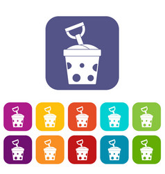 Toy bucket and shovel icons set flat vector
