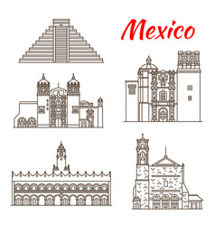 Travel landmark ancient mexico linear icon vector