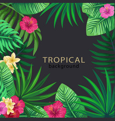 Tropical frame with palm leaves vector