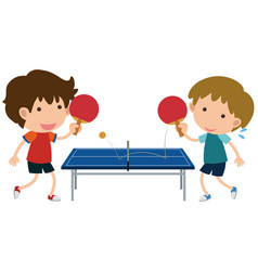 Two boys playing table tennis vector