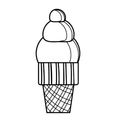 Waffle ice cream icon outline style vector