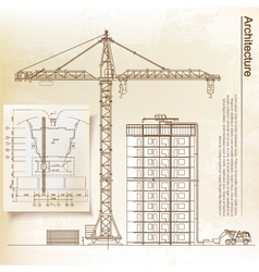 Architectural background with a crane vector image