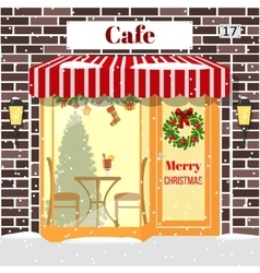 Christmas decorated Cafe or coffee shop Building vector image vector image