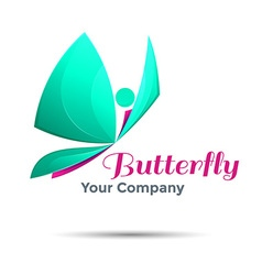 Eco logo green butterflies logo design Template vector image