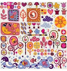 Nature cartoon pattern vector