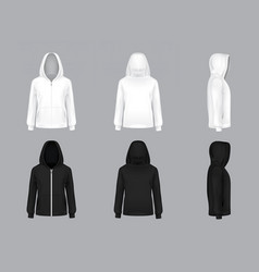 realistic white and black hoodie models vector image vector image