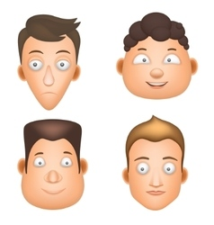 Set cartoon man face vector image