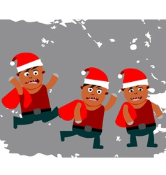 Set of funny little Santa Claus vector image vector image